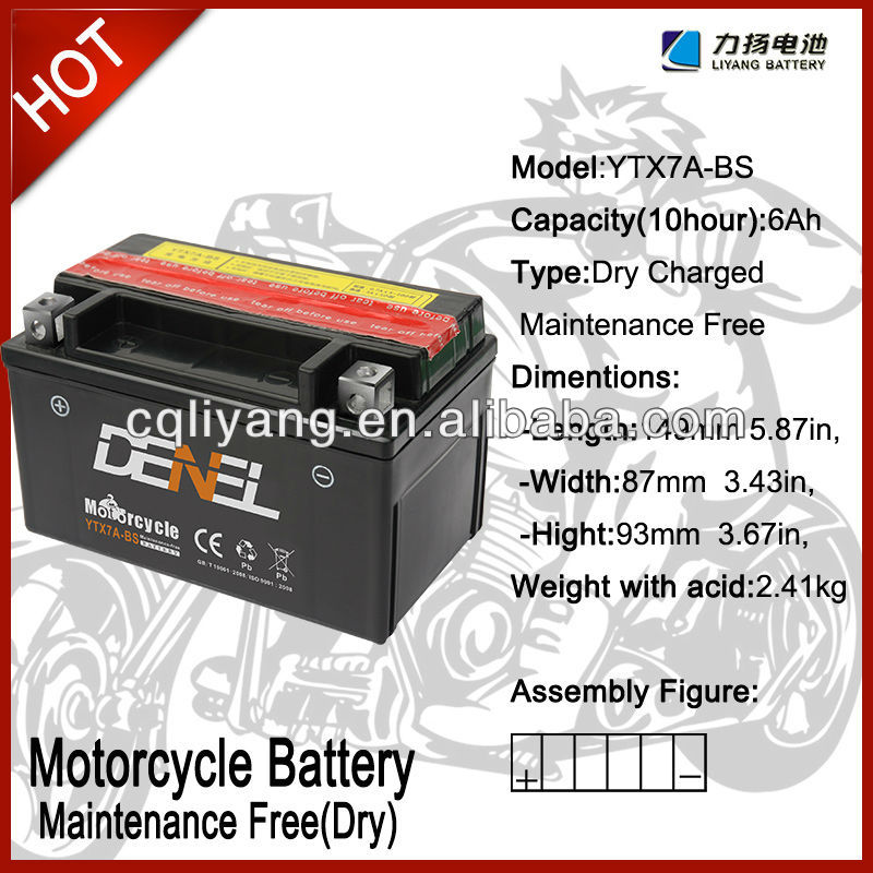 Primary&Dry tricycle batteries for mini motorcycle