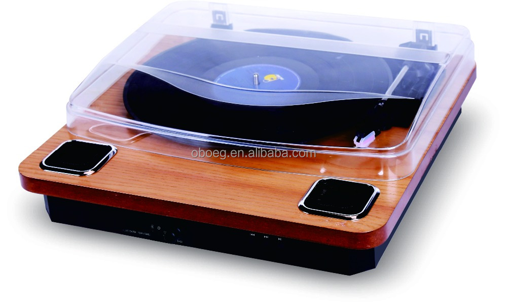 Music Vinyl Records Retro Wooden Player Turntable with MP3/USB/Built-in speaker