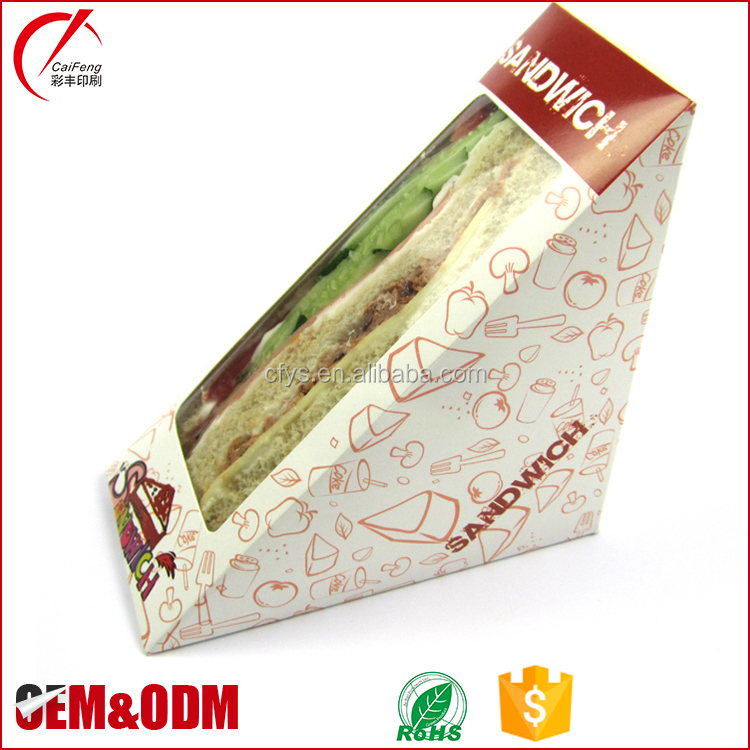 Custom food grade disposable plastic blister triangle sandwich cake box,plastic lunch cake packaging box