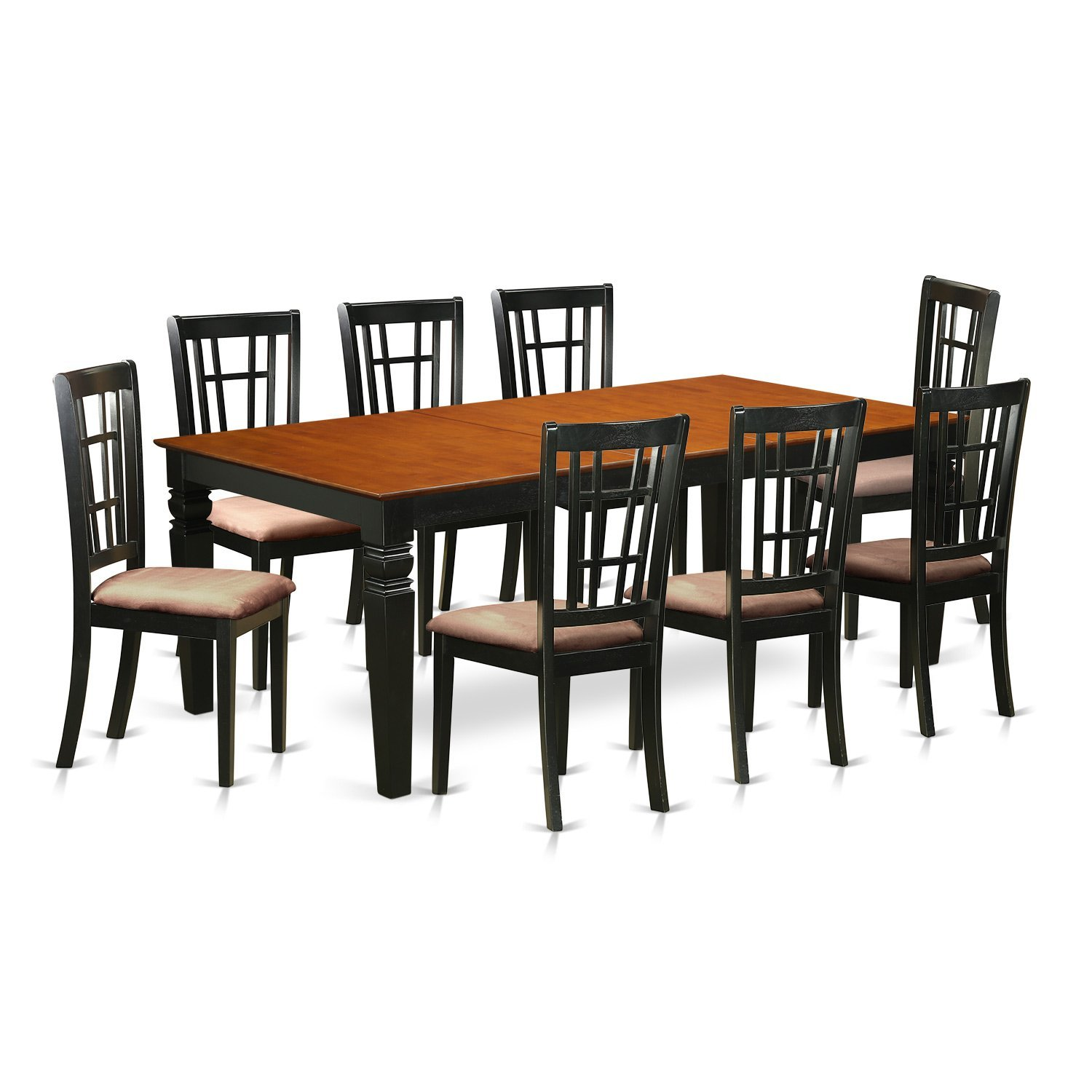East West Furniture LGNI9-BCH-C 9 PC Kitchen Table Set with One Logan Dining Table & Eight Kitchen Chairs in Black & Cherry Finish