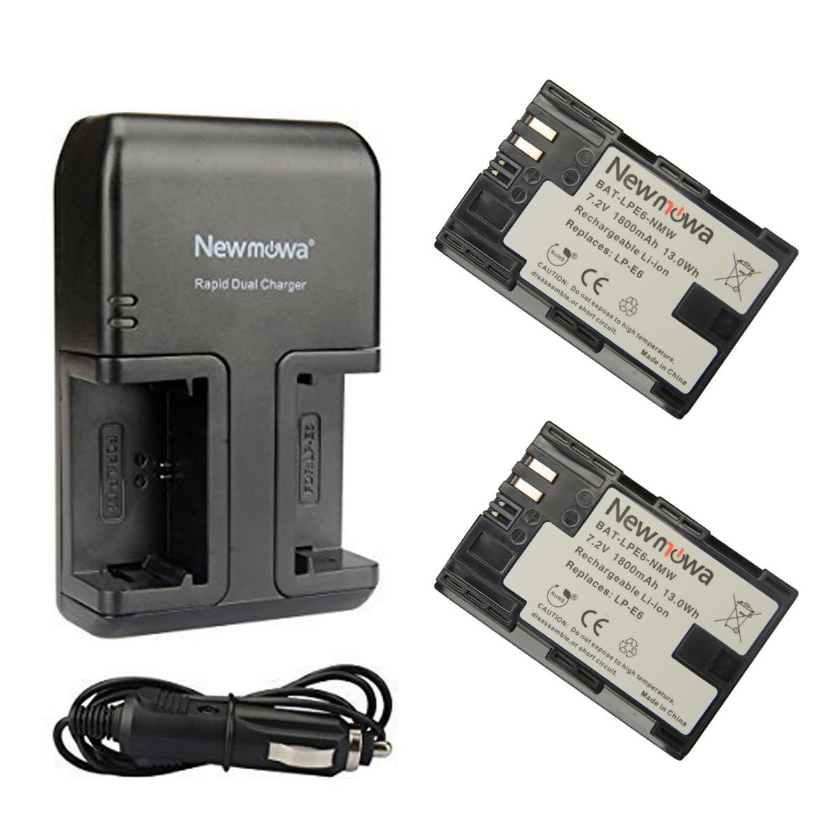 Newnowa LP-E6 Replacement Battery (2 pack) and Dual AC Charger for Canon LP-E6, LP-E6N and EOS 5D Mark IV, EOS 5D Mark III, EOS 5D Mark II, EOS 6D, EOS 7D, EOS 7D Mark II, EOS 60D,EOS 70D