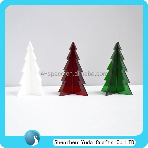 Green White Red Acrylic Table Christmas Tree Mini Decoration