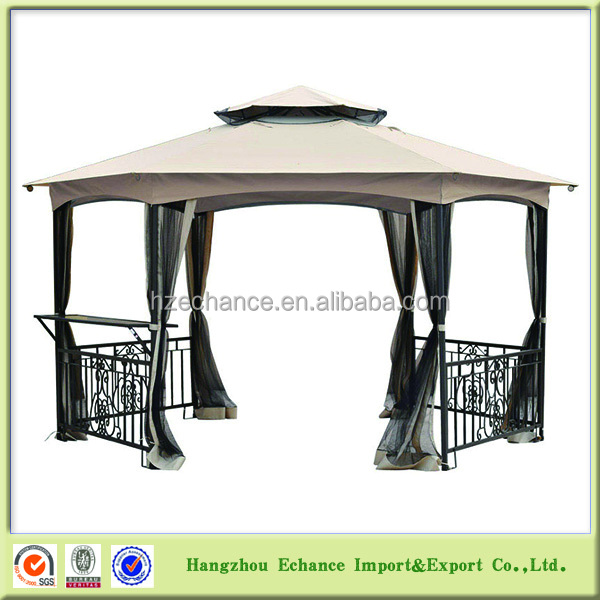 Hot sell outdoor garden gazebo with six sidewalls mesh Roman style-F4511