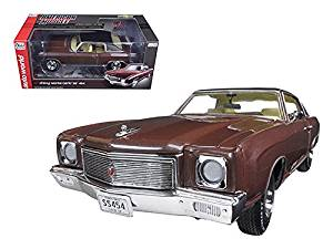 1971 Chevrolet Monte Carlo SS 454 Rosewood Metallic Limited Edition to 1002pcs 1/18 Model Car by Autoworld