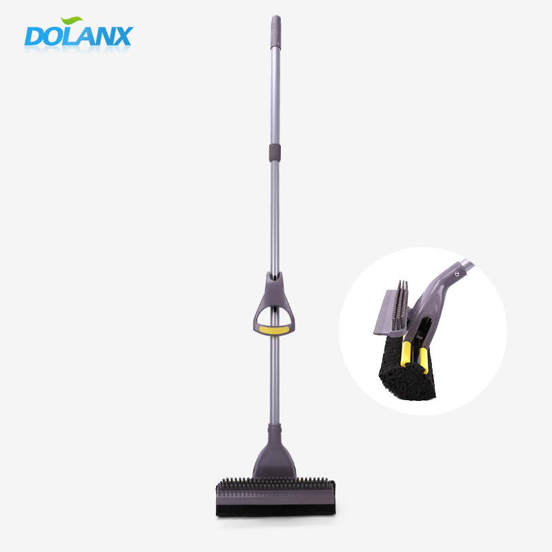 dolanx sir and seiling floor cleaning mop with telescope handle and plastic brush
