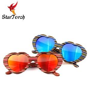 84f56f57b0 Heart Shaped Bamboo Sunglasses