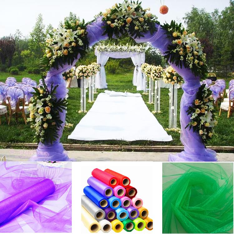 1.5m Wide Organza Fabrics Wedding Decoration Sheer Crystal