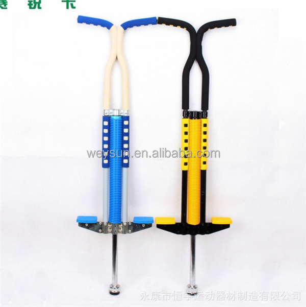 child teenage adult bouncing double-hand Jumping pole pogo stick