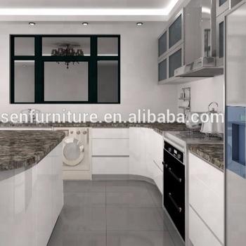 Pabrik Langsung Moderen Sederhana Lemari Dapur Dengan Bingkai Aluminium Kabinet Dinding Kaca Pintu