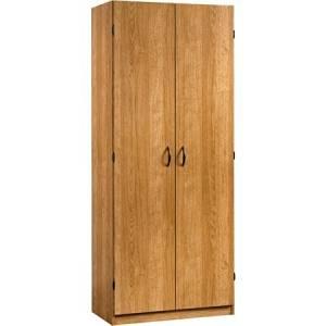 Sauder Beginnings Storage Cabinet with Four Adjustable Shelves, Highland Oak,brown Wood Cabinet