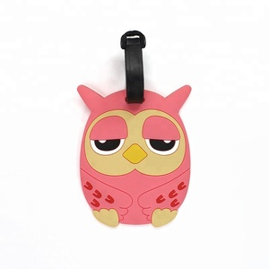 Factory Direct Sale, Personalized Custom Soft PVC Rubber Travel Tag Owl Animal Shaped Luggage Tag for Travel Agencies JGLT0001