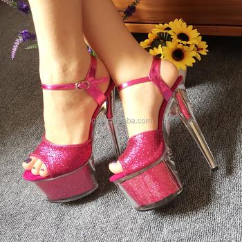 b1a901711e Mais recente atacado pink glitter sapatos de salto alto elegante mulheres  gladiador sapatos de cristal saltos