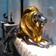 Life Size Golden Metal Steel Lion Statue An Docile Stainless Steel Lion Gallery Sculpture
