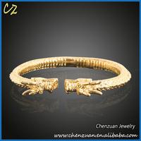 Hottest sale mens solid bangle jewelry dragon18k gold bracelet for men