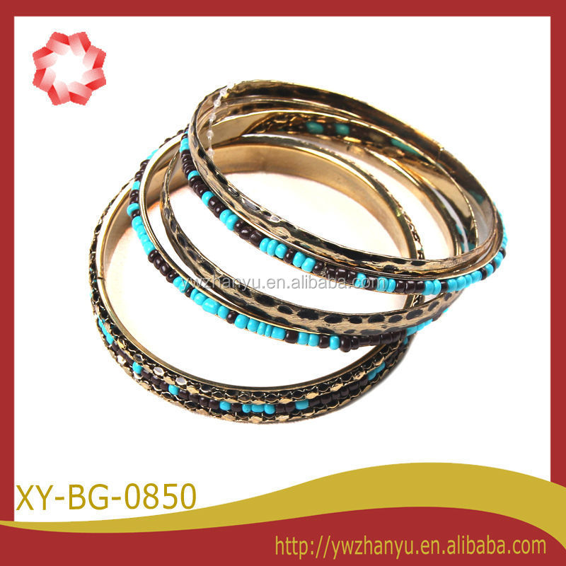 new arrival blue beads metal bangle cuff charm bracelet sets
