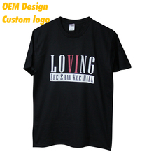 Tailor made Modern Polyester Silk screen print custom dimension 180 gram Black Round Collar Couple T Shirt for school