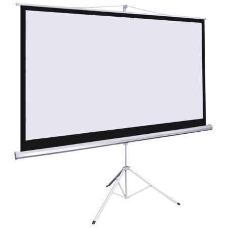 """92"""" Portable Tripod Projector Screen Heavy Duty Aluminum Legs with Toe Release Mechanism Offers a Wide Stance for Stability"""