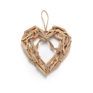 "12""Natural Driftwood Heart Wall Decor with Rope Hanging and bowknot"