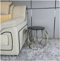 silver stainless steel corner table