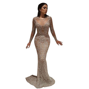 2018 Dubai Women Champagne Evening Dresses Long Sleeve Prom Gowns Ladies Party Dresses