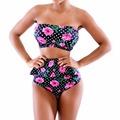 New Sexy Women Floral Bandeau Flounced Bikini Set Swimwear Swimsuit Bathing EA14