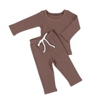 Wholesale Clothing Clothes For Kids Child Solid Long Sleeve O-NeckTops&Long Pants Worsted Outfits Children Clothes Clothing Sets