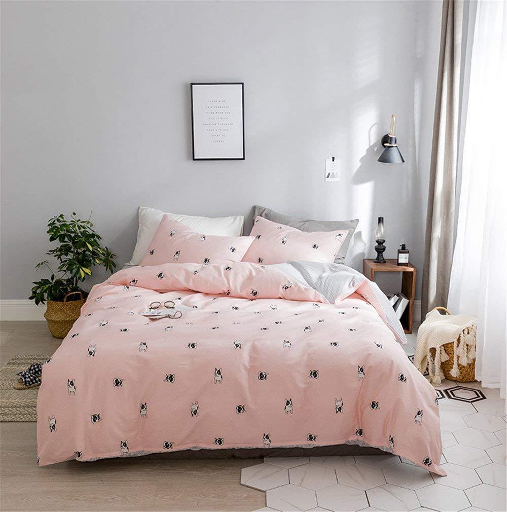 Dodou Bedding Cute puppy dog Print Bedding Set Pink dog Print Duvet Cover Set Girls Kids Bedding Sets Cartoon Bedding Set 3pcs (Twin)