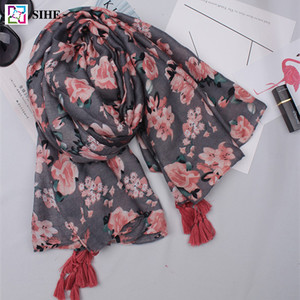 Muslim hijab most beautiful floral printed scarf with tassels