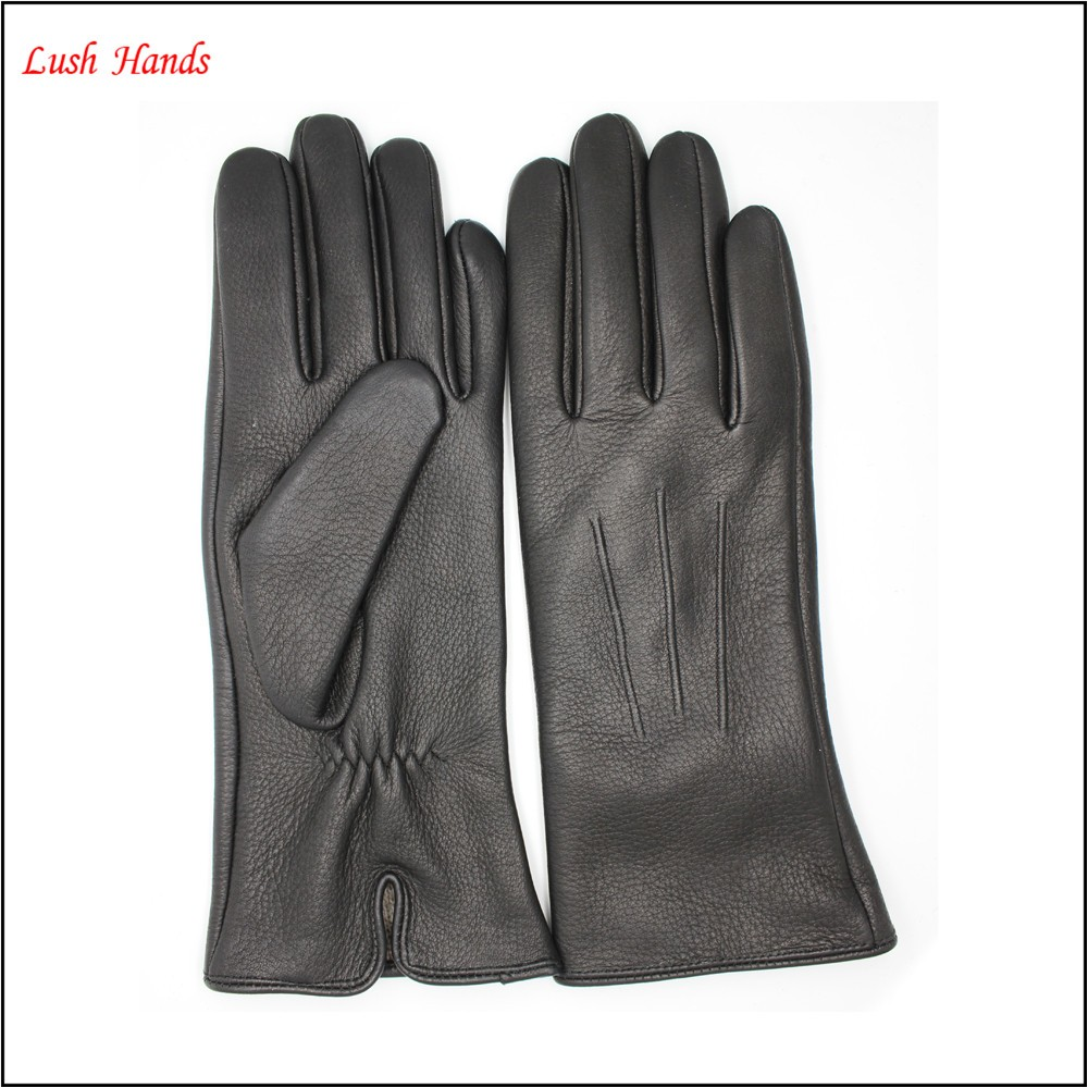 Ladies buckskin leather gloves with wool lining