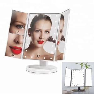 2018 Hot Selling Product Trifold LED Makeup Mirror desktop Vanity Mirror With Lights Portable Lighted Cosmetic Mirror