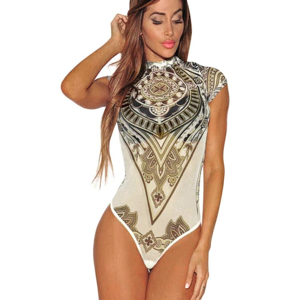 576c1d96d265 Get Quotations · Fheaven Women Summer Sexy Print Voile Perspective Bodysuit  Jumpsuit Leotard Clubwear Playsuit (S