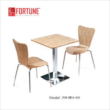 Apple Wood Restaurant Furniture Set 2 Seater Dining Table Foh Xm16