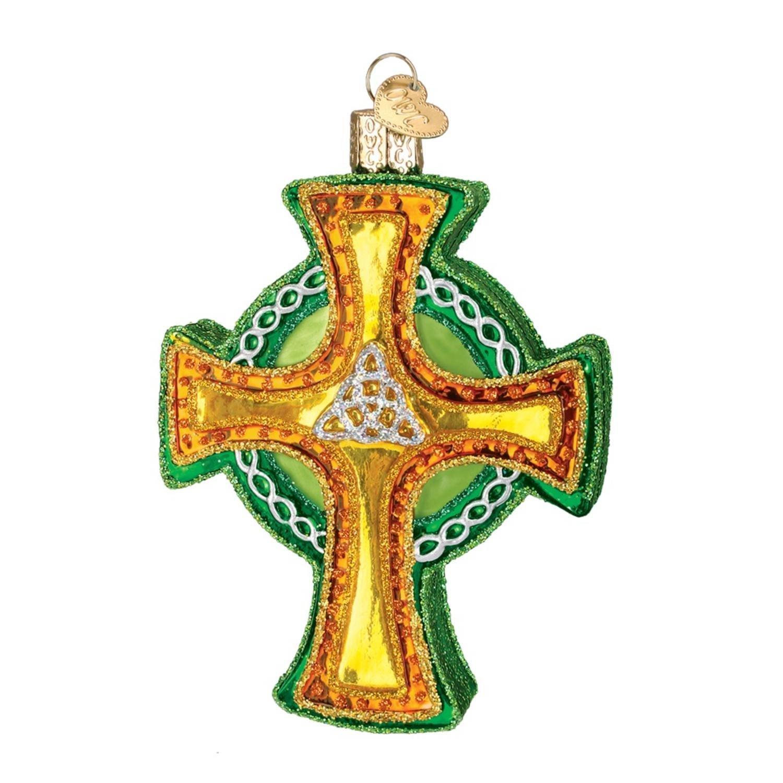 "3.75"" Old World Christmas Glass Irish Celtic Trinity Cross Ornament #36117"