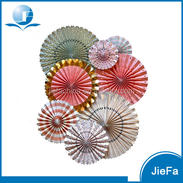 Gold Stamp Colorful Beautiful Customized Party Decoration Paper Fan Decorations