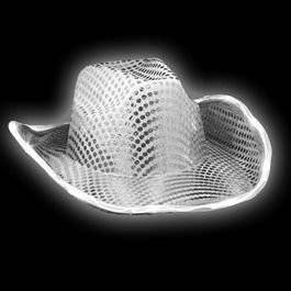 Get Quotations · LED Flashing Cowboy Hat with White Sequins by Blinkee 73c0f8124b74
