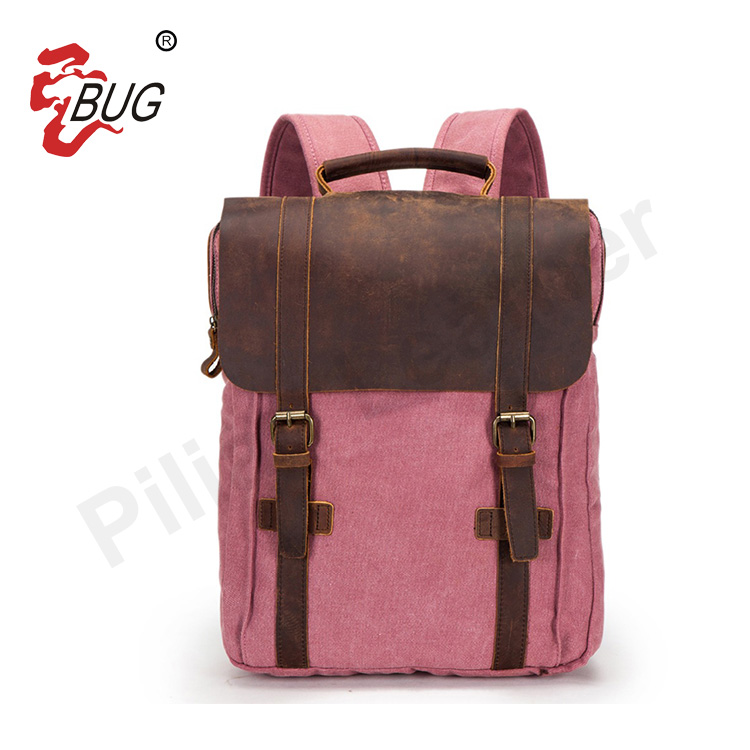 2017 Cheap Canvas Leather Fashion School Bags Travelling Backpack Ladies Laptop Bag