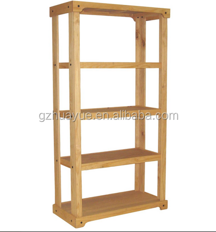 Factory price wooden retail shelving unit with 3 shelves, open back