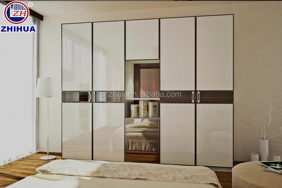 High gloss uv panel waterproof melamine mdf fiber board for Bedroom cupboard door designs