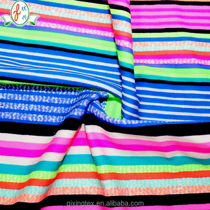 Rainbow Colorful Stripe Printing Supplex Lycra Swimwear Beachwear Swimwear Fabric