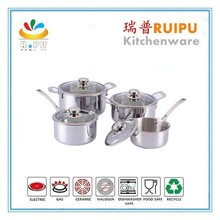 As seen on TV kitchen supplies wholesale stainless steel pans cookware waterless stainless cookware