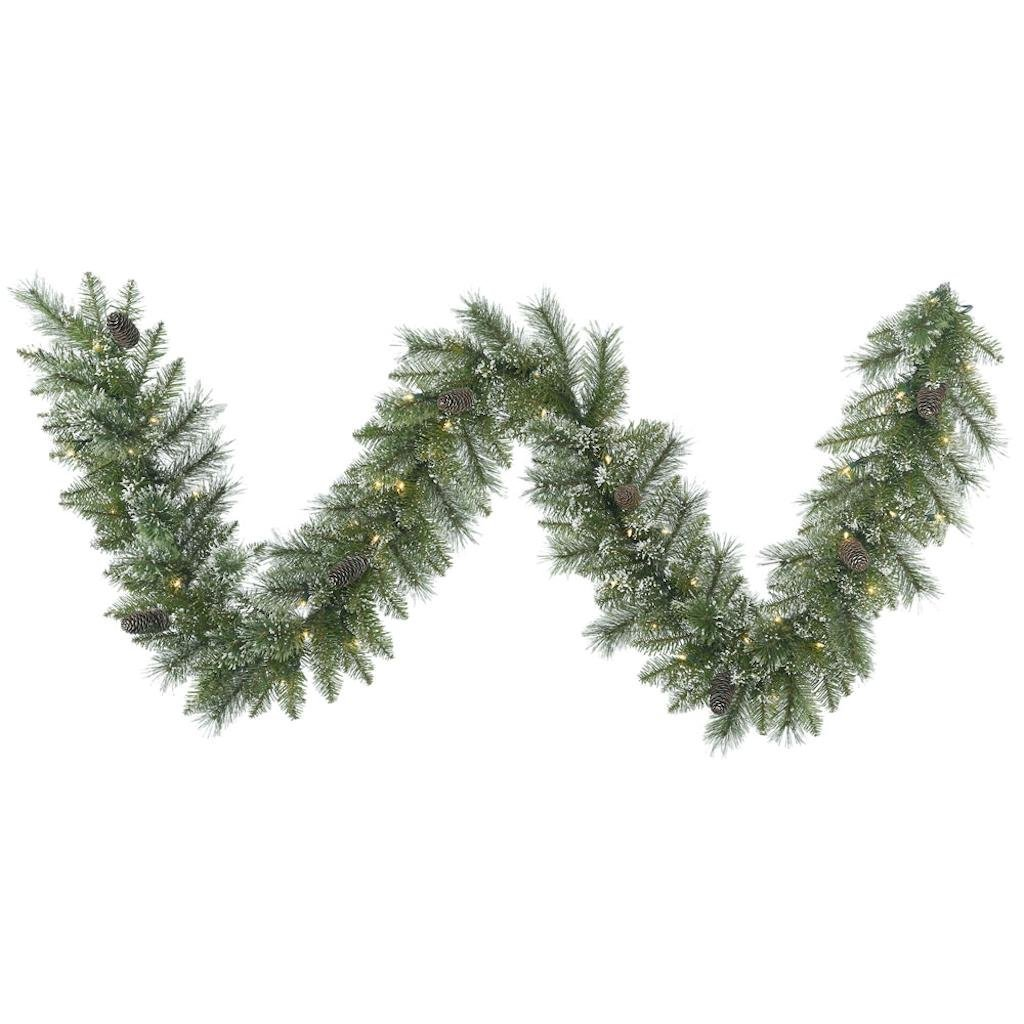 get quotations vickerman 408933 9 snow tip pine with 50 clear led lights christmas garland