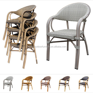 Wood Look Synthetic Rattan Chair with Flat Rattan Woven Gray Color Dining Chair