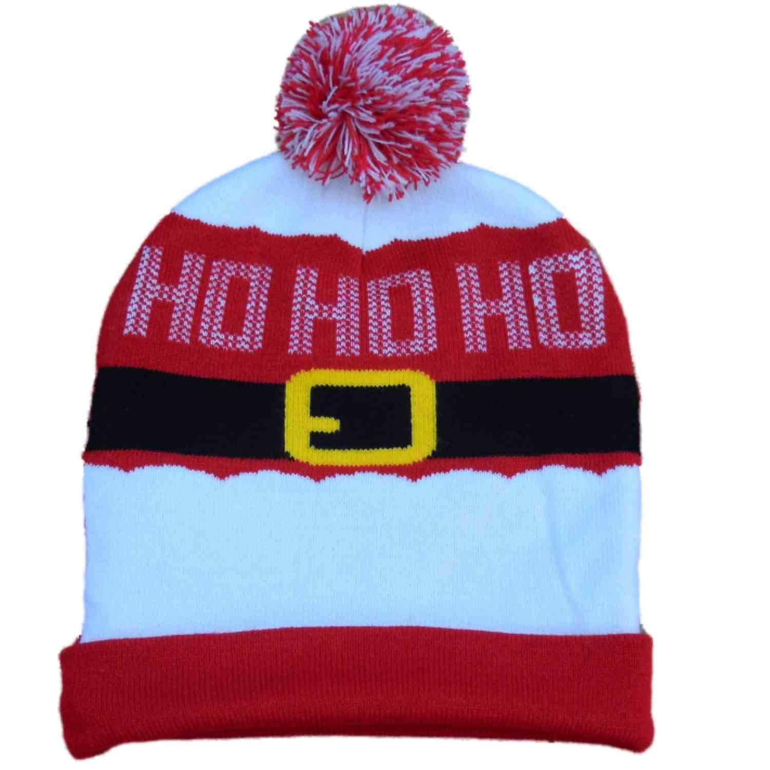 Get Quotations · Men s Christmas Santa Ho Ho Ho Red Beanie Stocking Cap  Winter Hat 6e32e4017c6f