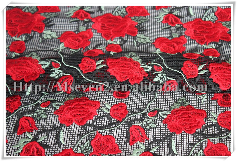 New Arrival Fashion design polyester mesh flower applique embroidery lace fabric