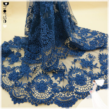 2016 Wholesale designs pearl bead african lady wedding / color bridal french lace fabric for party
