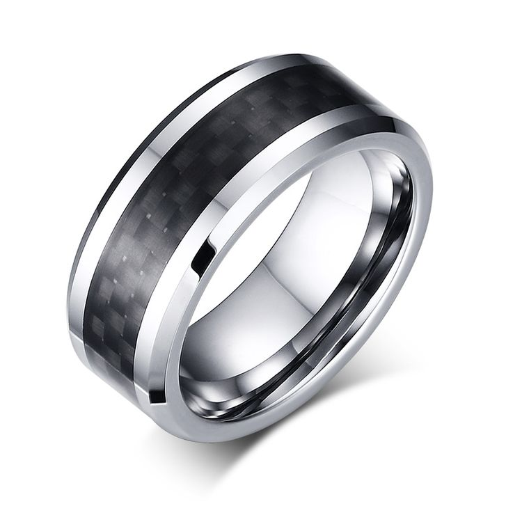 2018 New Arrival Tungsten Steel Men's Ring Carbon Tungsten Steel Fiber Ring