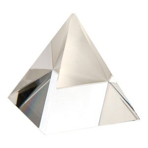 Crystal glass pyramid paperweight