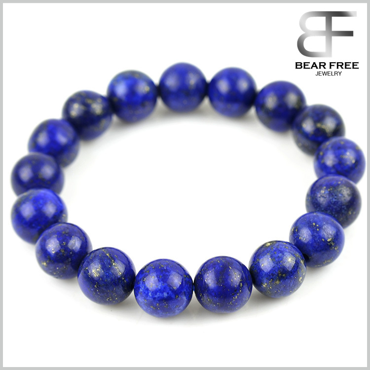 Natural Faceted Round Gemstones Grade A Lapis Lazuli Beads Stretch Elastic Bracelet