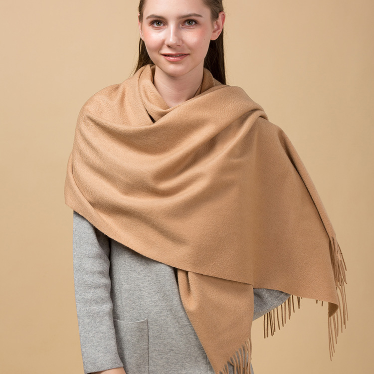 2017 women top quality fluffy Mongolia light tan 100% cashmere knitted scarf