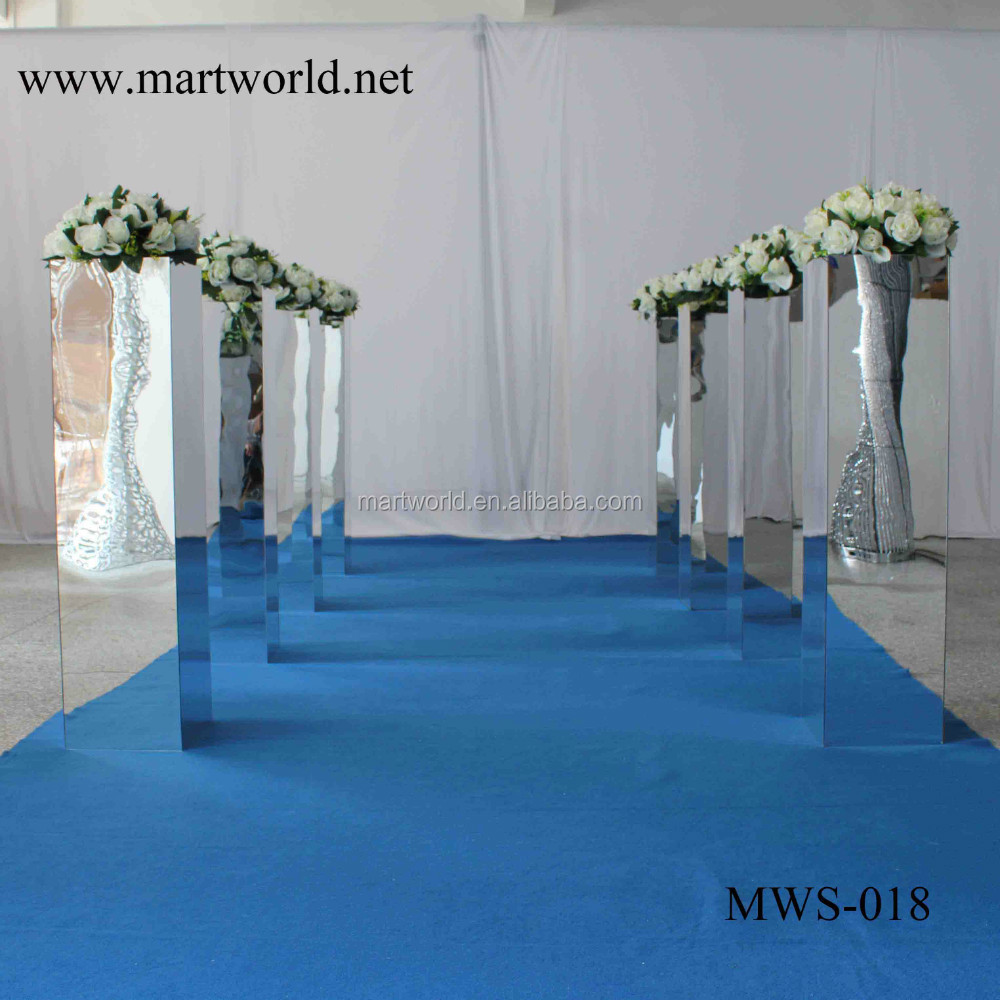 31 Inch Height Square Silver Mirror Column Party And Wedding Decoration  Supplies In Guangzhou(MWS